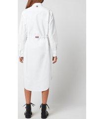 thom browne women's l/s below the knee shirtdress with rwb gg belt - white - it 38/uk 6