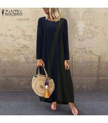 zanzea mujeres más el tamaño de bloque del color del vestido maxi largo de la llamarada del oscilación de la vendimia retro kaftan -azul marino