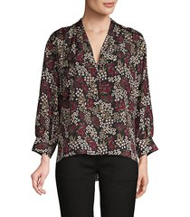 floral high-low blouse