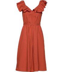 azana poplin ruffle dress knälång klänning orange french connection