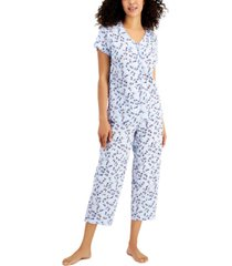 charter club printed cotton capri pants pajama set, created for macy's