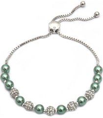 charter club pave & imitation pearl slider bracelet, created for macy's