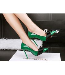 pp343 elegant pointy pump w black bowtie, patent leather,us size 4-8.5, green