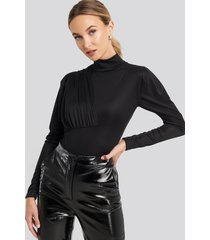 trendyol draped sheer neck body - black