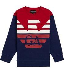 emporio armani bicolor cotton sweatshirt with logo print