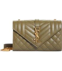 saint laurent small envelope calfskin leather shoulder bag - beige