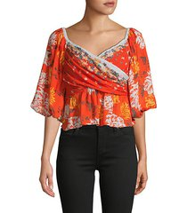 mixed floral-print crossover top