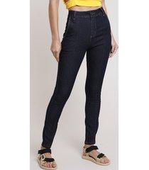 calça jeans feminina sawary skinny cintura alta com nervura azul escuro
