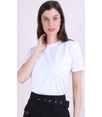 t-shirt feminina mindset manga curta decote redondo branca