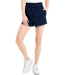 tinseltown juniors' pull-on frayed denim shorts