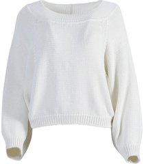 yasima textured knit top white