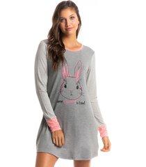 camisão curto manga longa estampado bunny