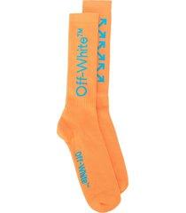 off-white arrows print socks - orange