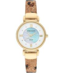 anne klein considered women's solar-powered animal print cork strap watch 30mm