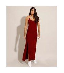 vestido básico com fenda longo alça fina vermelho escuro