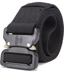 cinturon hombre tactico militar nylon 125cm hebilla corta negro