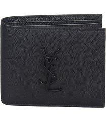 saint laurent logo plaque bifold wallet