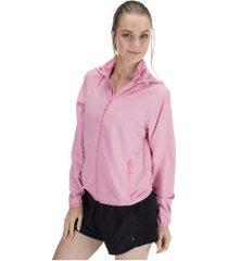 jaqueta corta-vento impermeável com capuz oxer water repelent - feminina - rosa claro