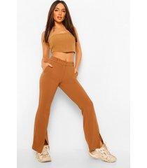 getailleerde slim fit broek met voorsplit, camel