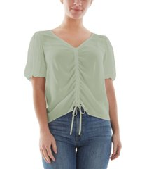 bcx juniors' ruched bubble-sleeve top