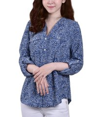 ny collection petite 3/4 sleeve roll tab y neck blouse