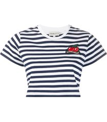 fiorucci striped cherry crop t-shirt - blue