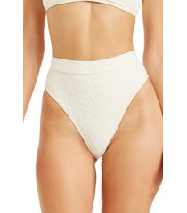 women's billabong peeky days high waist bikini bottoms, size medium - white