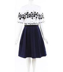 carolina herrera 2019 beaded sequin silk dress blue/white sz: l