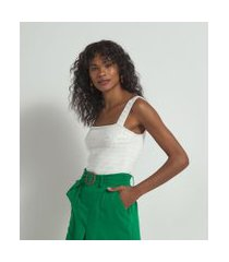 blusa regata texturizada em tricô | marfinno | branco | gg