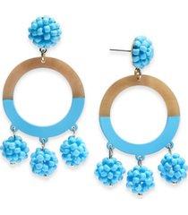 inc gold-tone beaded resin drop hoop chandelier earrings, created for macy's
