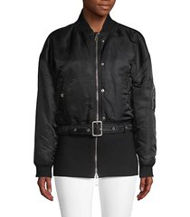 belted crop bomber jacket