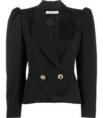 alessandra rich structured shoulders blazer - black