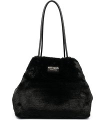 kate spade faux fur tote bag - black