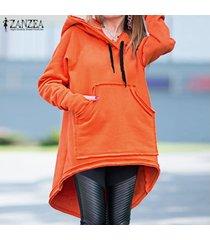 zanzea sudaderas con capucha de manga larga para mujer sudadera con capucha jersey asimétrico -naranja