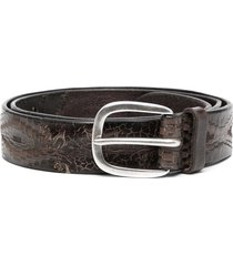 orciani patchwork-patterned leather belt - brown