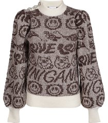 ganni soft wool knit melange sweater