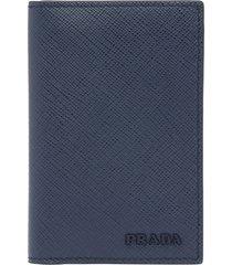 prada saffiano leather card holder - blue