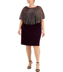 connected plus size metallic crinkle cape dress