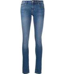 philipp plein teddy patch-embellished skinny jeans - blue