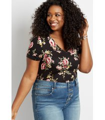 maurices plus size womens 24/7 black floral tuck in tee