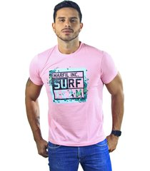 camiseta hombre manga corta slim fit rosado marfil surf
