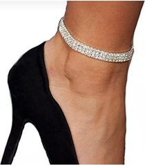 3 row rhinestone stretch anklet