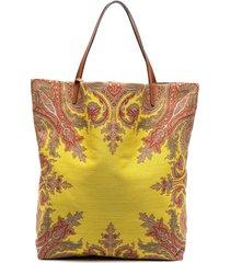 etro reversible paisley print tote bag - yellow