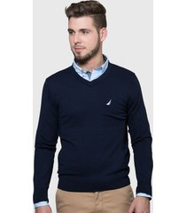 sweater nautica azul - calce regular