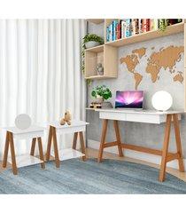 escrivaninha cavalete e conjunto mesa lateral amãªndoa branco casah - branco - dafiti