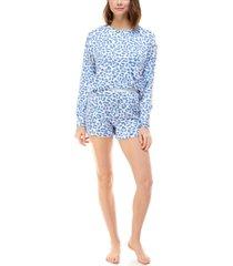 roudelain printed sweatshirt & shorts loungewear set