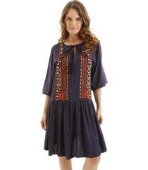 vestido aha manga longa bordado geometrico detalhe chuveirinho feminino - feminino