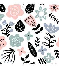 papel de parede floral escandinavo 57x270cm - multicolorido - dafiti