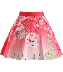 christmas tree santa claus plus size skirt