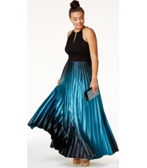 city chic plus size ombre pleated satin gown